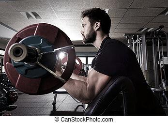 biceps preacher bench arm curl workout man at gym - biceps...