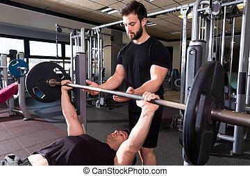banco, prensa, weightlifting, hombre, personal, entrenador