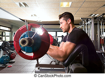 biceps preacher bench arm curl workout man at gym - biceps...