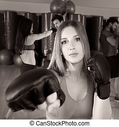 Boxing aerobox woman portrait in fitness gym - Boxing...