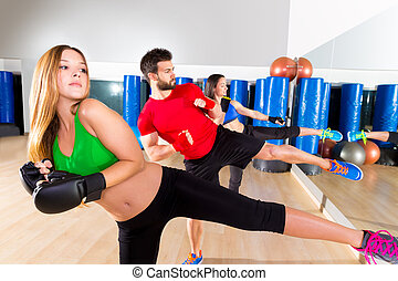 Boxing aerobox group low kick training at gym - Boxing...