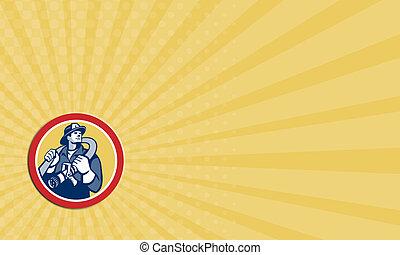 Business card Fireman Firefighter Holding Fire Hose Retro