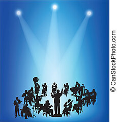 Orchestras musicians silhouettes on a blue stage background...