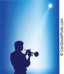 Trumpeter's silhouette on a blue stage background