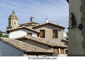 View of Mantilde;eru, Navarra Spain - View of Mañeru,...