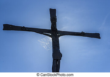 Old Metallic Crucifix in Obanos, Navarre, Spain - Old...