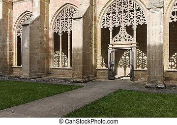 Cloister of the Monastery of Santa Maria la Real de Najera,...
