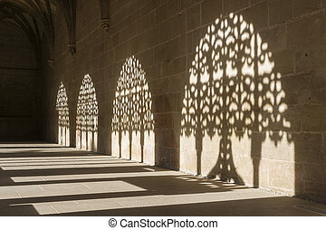 Cloister of the Monastery of Santa Maria la Real de Najera,...