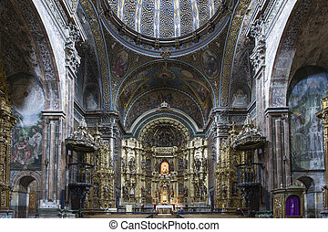 St. Maria Church in Los Arcos, Navarre. Spain. Built between...