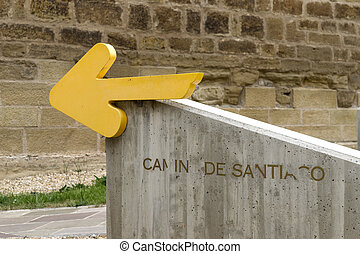 Arrow of the St. James Way. Santo Domingo de la Calzada, La...