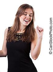 Young girl dancing - Young girl having fun from dancing,...