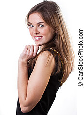 Side view of a pretty girl dancing on isolated white...