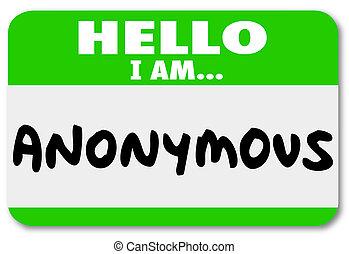 anonyme, Unnamed, nom, Étiquette, classifié,...