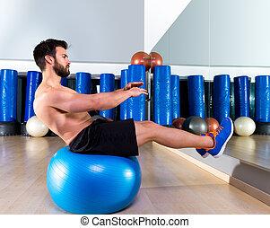 Fitball abdominal balance crunch Swiss ball man
