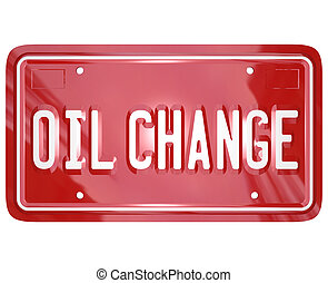 Oil Change Red Car License Plate Mechanic Service Repair...