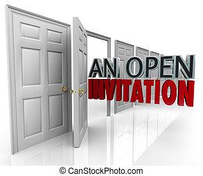 un, abierto, invitación, palabras, empresa / negocio,...
