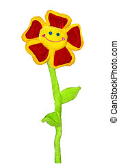 Flower toy - Smiling flower toy isolated on white background