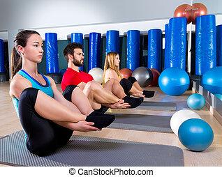 sello,  Pilates, grupo, ejercicio, gente