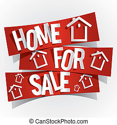 Home For Sale On Red Banners vector illustration