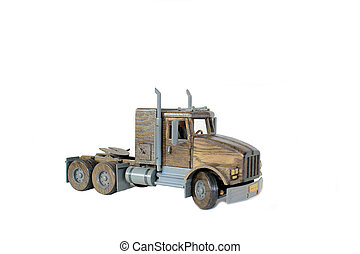 Truck tractor on White - Wooden model of a truck tractor...