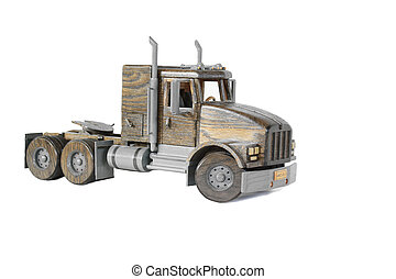 Truck Tractor on White - A wooden model of a truck tractor...