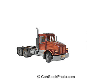 Truck tractor on White - Photo of a wooden model of a truck...