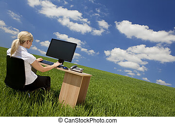 Businesswoman Using Computer In A Green Field - Business...