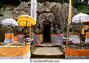 Goa Gajah Temple (The Elephant Cave Temple) in Bali...