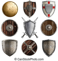 medieval shields collection #3 isolated on white