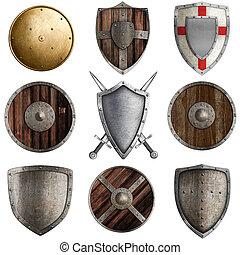 medieval, escudos, cobrança, #3, isolado, branca