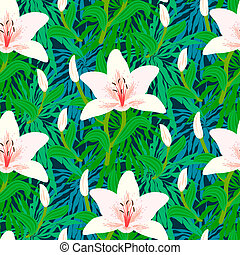 Floral pattern with tropical white lily flowers