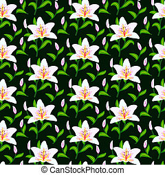 Vector pattern with lily flowers