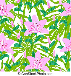 Floral pattern with tropical big pink lily flowers - Vector...