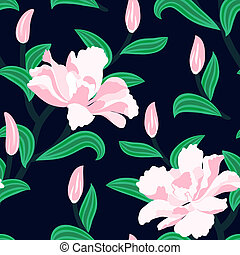 Floral seamless vector pattern with peony flowers