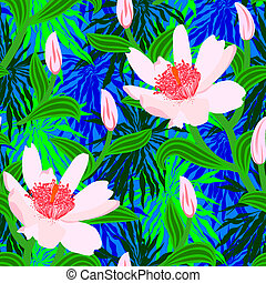 Tropical pattern with jungle flowers