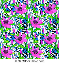 Tropical pattern with jungle flowers - Vector seamless...