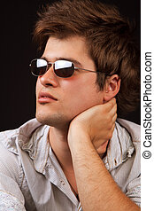 Fashion - handsome sexy man with sunglasses - Fashion...