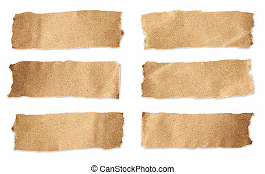 Torn brown paper sheet set on isolated white background