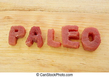 """paleo diet - """"paleo"""" letters cut from meat. Fat loss."""