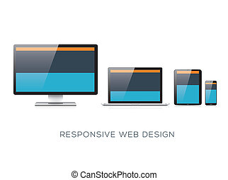 Fully scalable responsive web design flat vector concept