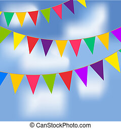 Party flags with blue sky and white clouds. Contains a...