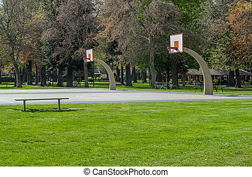 Basketball court in a public park