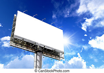 billboards - Tall billboards for advertising with blue sky.