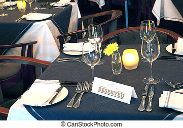 restaurant - Table in the restaurant Reserved for guests