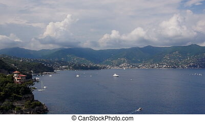 Liguria, Italy - Panoramic view of coastline