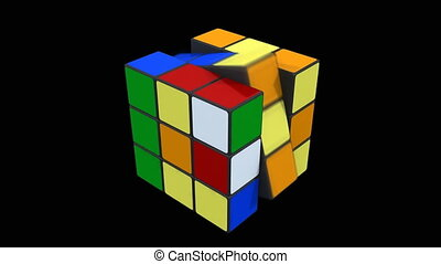 Rubik cube being solved - 3D animation of Rubik cube being...