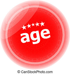 age word on red stickers button, label