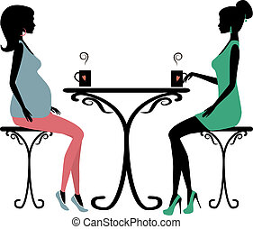 Silhouette of two fashionable women, vector illustration.