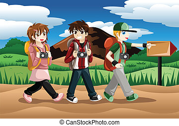 Children going on an adventure