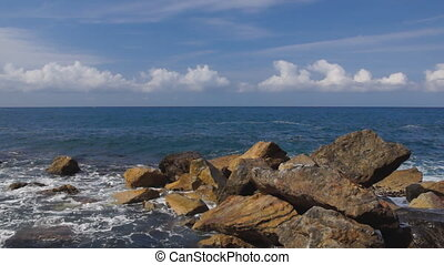 Sea view - Panoramic view of sea with waves, rocks and...